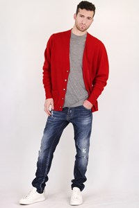 Burberry Dark Red Wool Cardigan